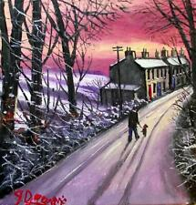 Original BEST Oil Painting Noted Artist James Downie : Nearly Home In the Snow