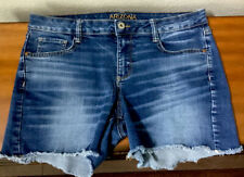 Women's Jean Shorts Sz 13 Arizona Medium Blue Denim Distressed Frayed Cut Off