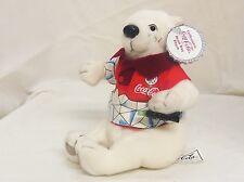 Golf shirt beanbag Polar Bear 7in with miniature Coke bottle 1999 5 up 0264