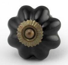 Black Ceramic Knobs, Handles for Cabinets or Unique Drawer Pull  K87-Set/4