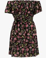 Womens Ladies Theresa Red Pink Ditsy Floral Bardot Style Black Summer Dress