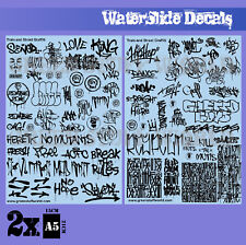 Waterslide Decals - Train and Graffiti Mix Black - Hobby Stickers Diorama