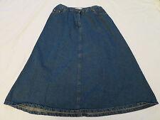 310596193d Roaman's Denim Blue Jean Modest Long Skirt with Orange Stitching Womens 14W