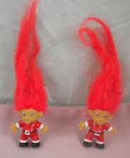 Vtg Troll Red Hair Santa Holiday Ugly Christmas Suit Dangle Pierced Earrings