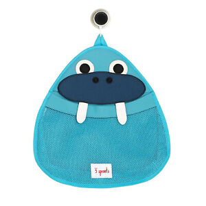 3 Sprouts Baby Hanging Suctioned Cup Bath/Shower Storage Organizer, Blue Walrus