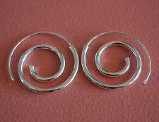 925 Sterling Silver Big Spiral Hoop Hook Earrings - Round Spiral Earrings