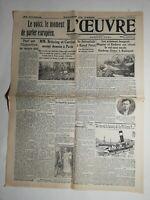 N507 La Une Du Journal L'œuvre 17 juillet 1931 les aviateurs hongrois Magyar