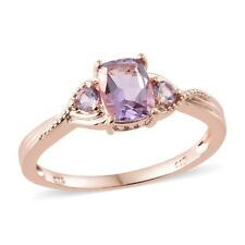 925 Sterling Silver 14K Rose Gold Plated Pink Amethyst Solitaire Ring