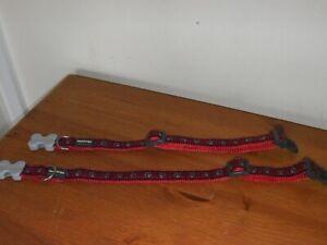 RED DINGO DOG COLLARS x 2 ~ Paw Prints (20mm x 31-47cm) Size M