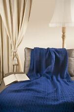 "Triple Cable Style 100% Merino Wool 40"" x 60"" Throw Blanket [Blue]"