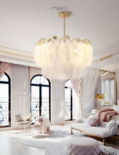 Nordic Modern Style Feather Chandelier Brass Finish E27 Bulb Ceiling Lamp