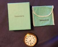 Rare Vintage Tiffany & Co. Brass  Germany Round Travel/Desk Quartz Clock