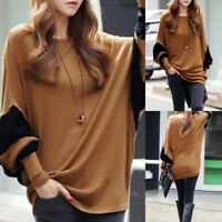 Women Fashion Round Neck Bat Sleeve Autumn Simple Casual Loose Tops Sweaters$L