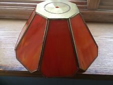 VINTAGE ORANGE COLORED STAINED GLASS HANGING LAMP SHADE BRONZE OUTLINE POOL