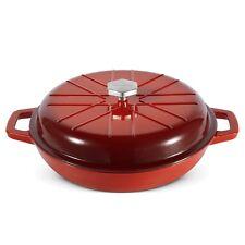 VonShef Red Ombre 3L Cast Iron Shallow Casserole Dish Non Stick Pan