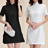 Women Oriental Style Party Flag Dress Short Sleeve AU Size 8 10 12 14 16 18 6589