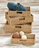 Set of 4 Seagrass Storage Organizer Baskets with Insert Handles Home Decor