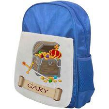 Personalised Childrens Pirate Backpack - Treasure Chest - School Bag - Blue