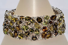 $66,000 82.09Ct Natural Alexandrite & Diamond Cluster Bracelet 18K WG