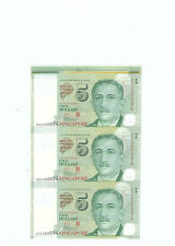 Singapore $5 3pcs UNCUT (Polymer) Banknote With Selvage UNC