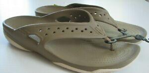 CROCS Sandals Swiftwater Deck Shoes Flip Flop Khaki Stucco 13 Men's Slides