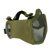 Tactical CS Camouflage Airsoft Half Face Metal Mesh Mask Ear Protection Green