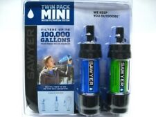 SAWYER Portable Mini WATER Filter FILTRATION SYSTEM Blue Green Twin Pack! SP2101