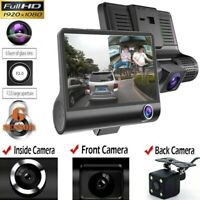 "1080P 4"" Dual Lens HD Car DVR Rearview Video Dash Cam Recorder Camera G-sensor p"