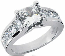 0.88 ct Semi-mount Round DIAMOND Engagement Ring 14k White Gold for Princess cut