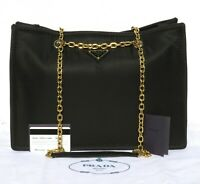 PRADA Black Tessuto Nylon Chain Shopper Tote 1BG268 Leather Gold HW Bag $1790 EC