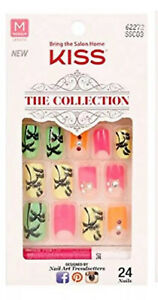 Kiss The Collection Medium Length Full Cover Nails Tropical Design VHTF