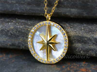 Silberkette mit Anhänger Stern Polarstern Rund Plättchen Golden Weiß