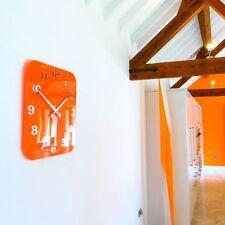Roco Verre Acrylic Gloss Modern Retro Wall Clock Orange Two Sizes