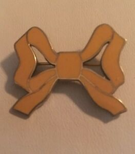 Vintage J.E.CALDWELL Gold Over STERLING SILVER YELLOW ENAMEL BOW TIE PIN Brooch