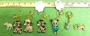 7-pc Lot Keychains Broch Rhinestones Fashion Bling Key Ring Charm  Gold tone NEW