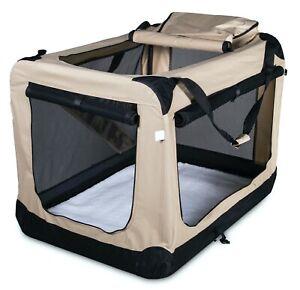 Trasportino pieghevole da viaggio trasporto borsa per cane colore beige tessuto