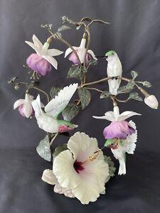Franklin Mint Flight Of Fancy Faberge Hummingbird Sculpture Numbered 3612 Floral
