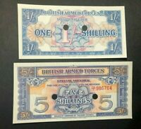 LOT of 2 1948 British Armed Forces 2nd Series 1 & 5 Shillings Special Vouchers