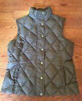 Lands' End Women's Size Small S 6 8 Down Puffer Quilted Vest Brown Snap Front