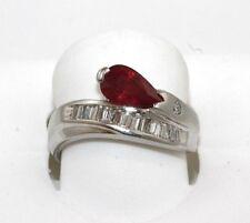 Pear Cut Ruby & Baguette Diamond Cluster Fashion Ring Band 14K Platinum 1.53Ct