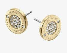 Authentic Michael Kors Yellow Gold CZ Plaque Stud Earrings MKJ3351710  P3 I1