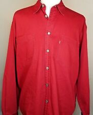Levis Red Tab Button Down Shirt Large Long Sleeve Red 100% Cotton Broadcloth