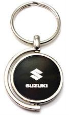 Black Suzuki Logo Brushed Metal Round Spinner Chrome Key Chain Spin Ring