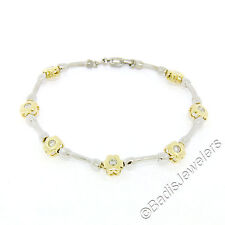 "14K Two Tone Gold 7.5"" 0.50ctw Burnish Round Diamond Flower & Bar Link Bracelet"