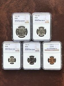 1964 Proof Set Matched NGC Pf 69 Proof 69 Blast White Copper Cent Red Star 5c