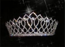 Shiny Crystal Bridal Tiara Crown Silver Rhinestone Pageant Wedding Headband Comb