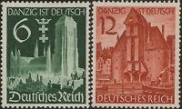 Stamp Germany Mi 714-5 Sc 492-3 1939 WW2 Danzig Crane Gate Church Poland MNH