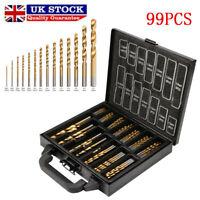 99 Piece Drill Bit Set In Metal Case - HSS Titanium Tin Coating Twist Drill UK