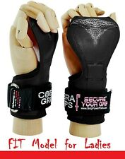 Cobra Grips FIT BLACK RUBBER Weight Lifting Gloves Heavy Duty Straps Pair New