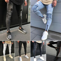 Mens Skinny Jeans Rip Stretchy Jeans Destroyed Bike Frayed Slim Fit Denim Pant